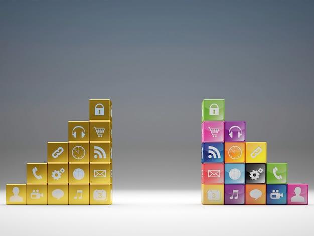 Conjunto de ícones do cubo