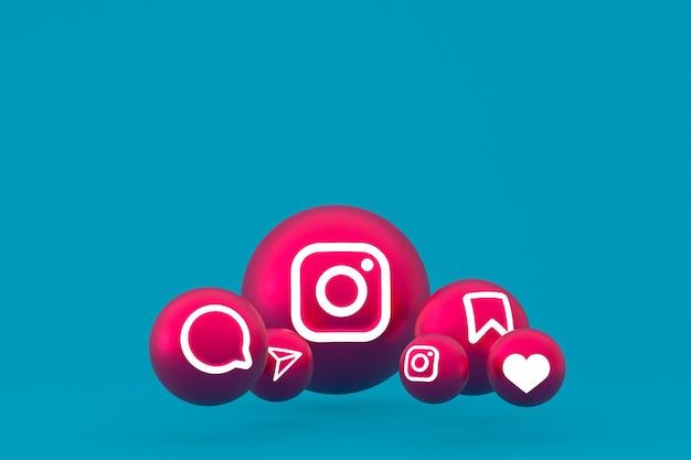 Conjunto de ícones do instagram renderização em azul