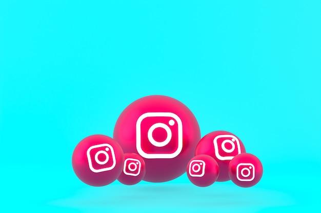 Conjunto de ícones do instagram renderizado em fundo azul