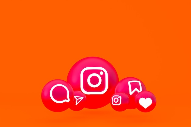 Conjunto de ícones do instagram renderizado em fundo laranja