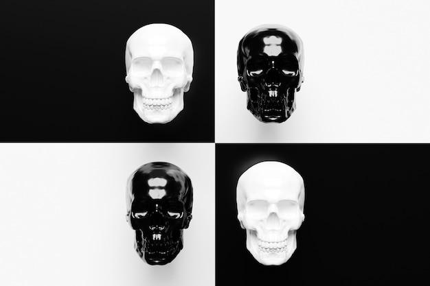Conjunto de ilustração 3d de crânios em preto e branco pop art na frente. ilustração gráfica da pop art do crânio