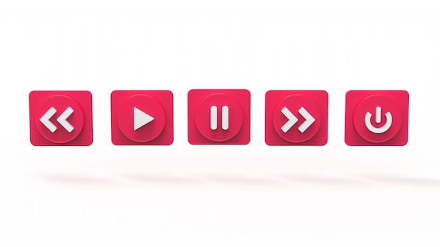 Conjunto de ilustração da música botão s conceito de mídia social 3d prestados