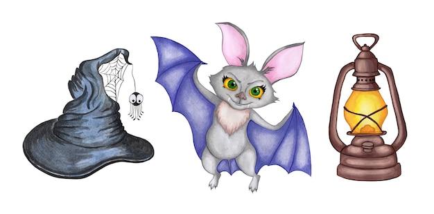 Conjunto de ilustração em aquarela para halloween imagens de lâmpadas de morcego e chapéus de bruxa dia de todos os santos