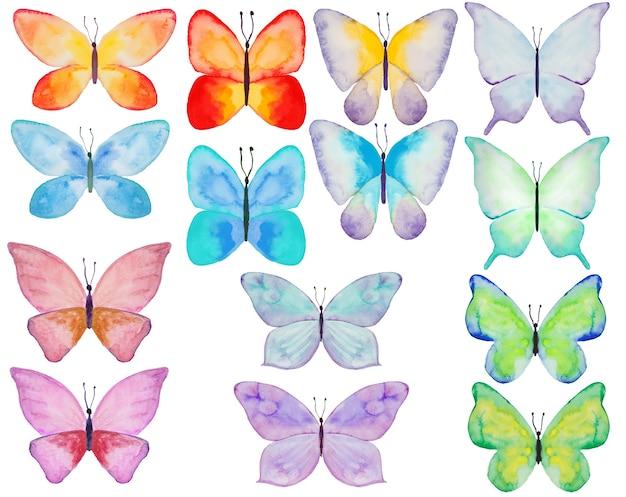 Conjunto de ilustrações de borboleta colorida em aquarela