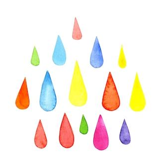 Conjunto de ilustrações em aquarela de gotas de chuva gotas multicoloridas, composição plana simples