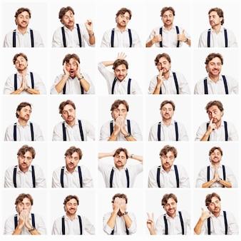 Conjunto de imagens emocionais de um homem ruivo com barba em uma camisa branca. parede branca. quadrado.