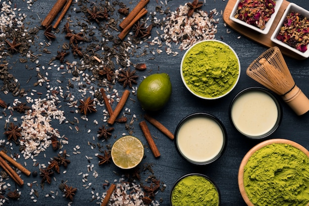 Conjunto de ingredientes matcha chá asiático