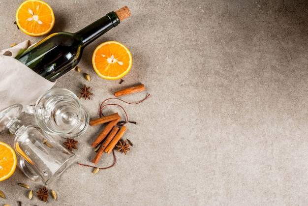 Conjunto de ingredientes para vinho quente
