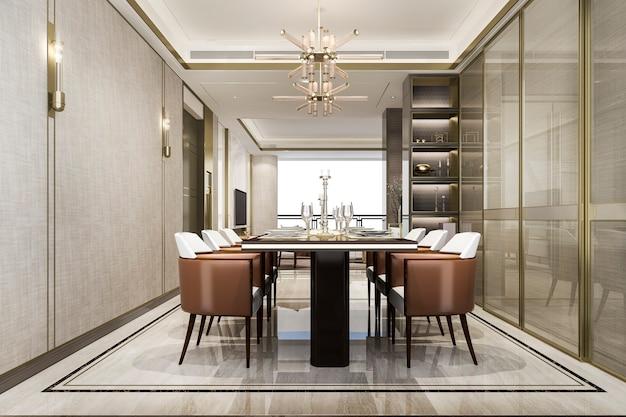 Conjunto de jantar em uma luxuosa sala de jantar moderna
