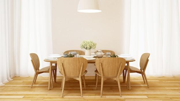Conjunto de jantar no quarto branco design minimalista - renderização em 3d