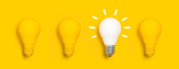 Conjunto de lâmpadas com uma iluminada, conceito de ideia