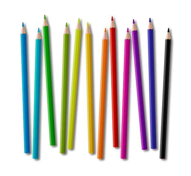 Conjunto de lápis de madeira coleção de cores sobre fundo branco