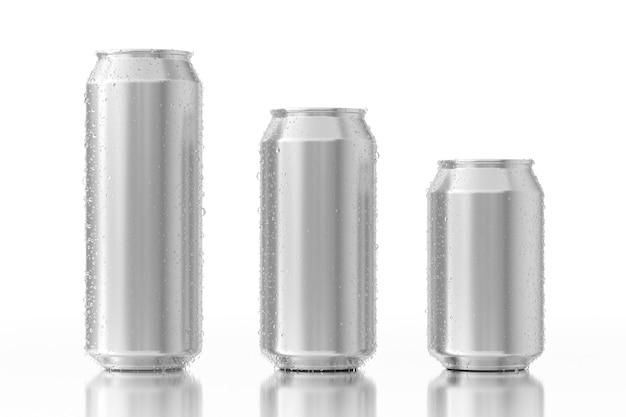 Conjunto de latas de alumínio em branco com gotas de água sobre um fundo branco. renderização 3d