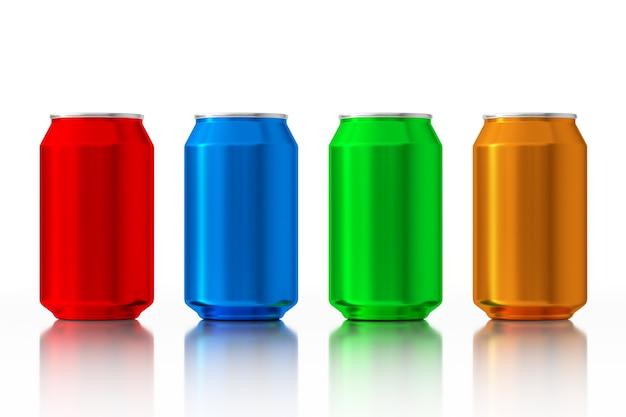Conjunto de latas de alumínio em branco multicoloridas em um fundo branco. renderização 3d