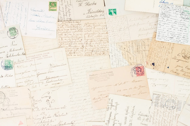Conjunto de letras antigas manuscritas de fundo vintage