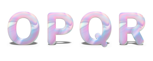 Conjunto de letras maiúsculas o, p, q, r em design holográfico brilhante, alfabeto de néon brilhante.