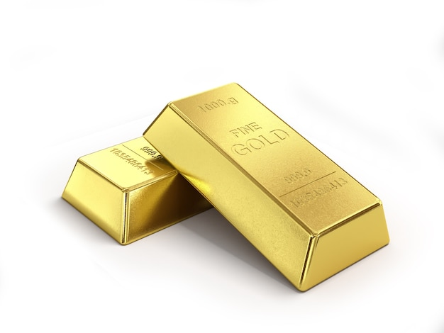 Conjunto de lingotes de ouro isolado no fundo branco