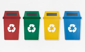 Conjunto de lixeiras com símbolo de reciclagem