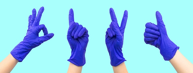 Conjunto de luvas de borracha médica com banner de gestos com as mãos, design de colagem com foto do espaço de cópia