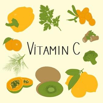 Conjunto de mão desenhada de produtos de vitamina c. conceito saudável.