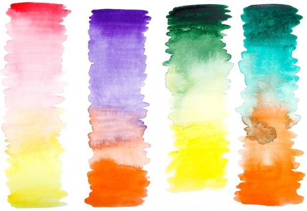 Conjunto de mão pintado traços de pincel de gradiente em aquarela