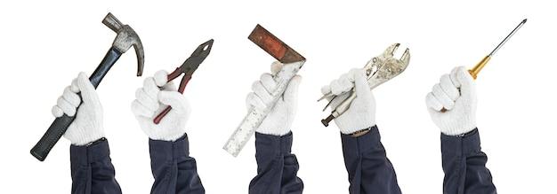 Conjunto de mão trabalhando na luva, segurando ferramentas