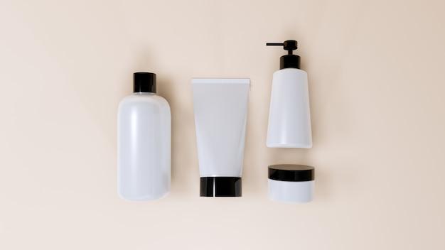 Conjunto de maquete de garrafa cosmética plana leigos, renderização em 3d