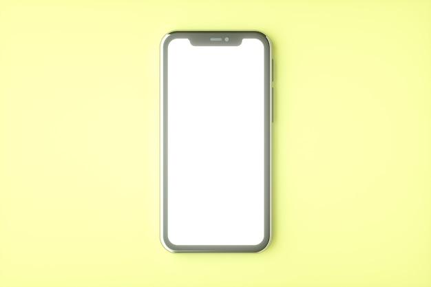 Conjunto de maquete realista de smartphone, renderização 3d. design de tela em branco e branco do telefone móvel. cor amarela
