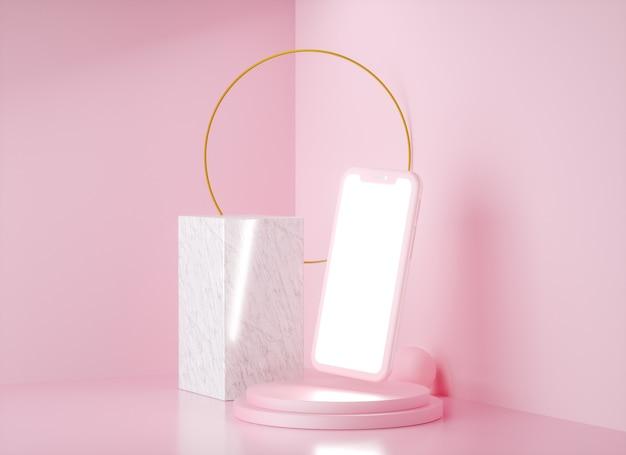 Conjunto de maquete realista de smartphone, renderização 3d. design de tela em branco e branco do telefone móvel. cor rosa