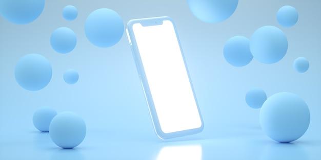 Conjunto de maquete realista de smartphone, renderização 3d. em branco, design de tela branca do celular