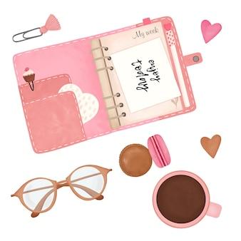 Conjunto de menina do planejador, adesivos do planejador, elementos do planejador para impressão, manhã da mulher, elementos do álbum de recortes
