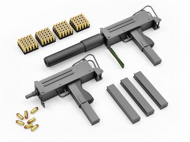 Conjunto de metralhadoras automáticas com acessórios
