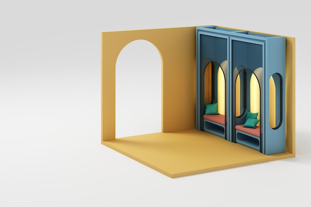 Conjunto de móveis amarelos mock up e renderização 3d de parede isométrica