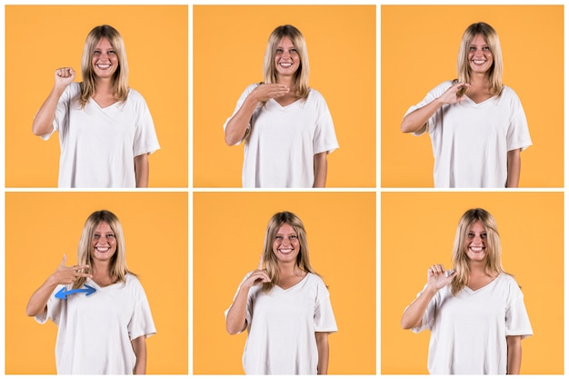 Conjunto de mulher mostrando diferentes alfabetos de sinais surdos