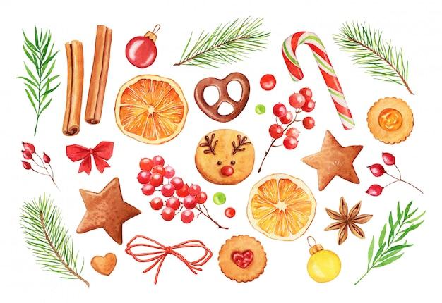 Conjunto de natal em aquarela com galhos de árvores de abeto, biscoitos e frutas