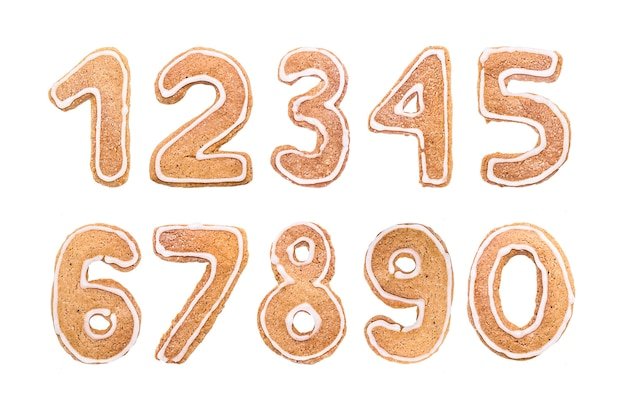 Conjunto de números de ano novo de biscoitos de gengibre
