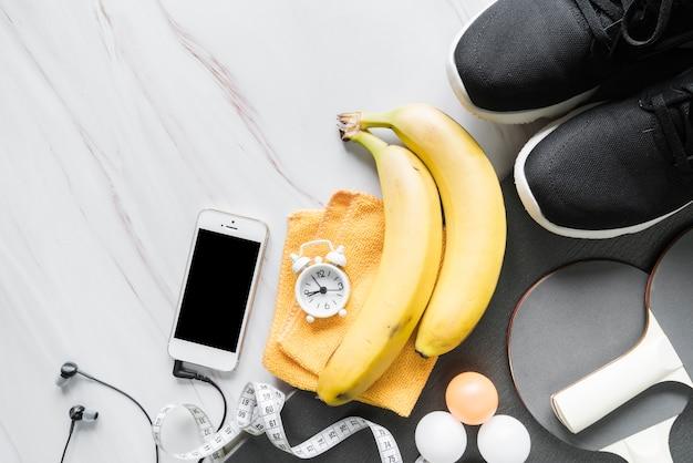 Conjunto de objetos de bem-estar e fitness