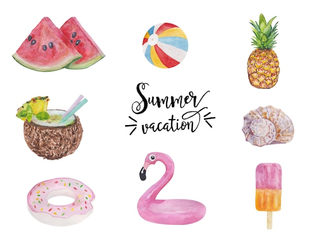 Conjunto de objetos de férias de verão fofo alimentos bebidas frutas flamingos e coleção de conchas de w isolado.