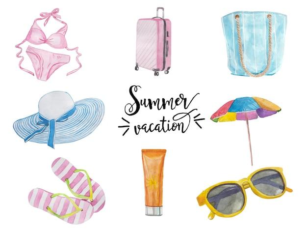 Conjunto de objetos de férias de verão fofos maiô mala óculos protetor solar chapéu e flip-flops collectio ...