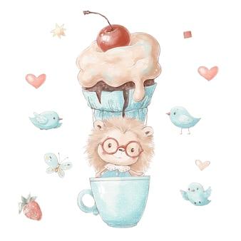 Conjunto de ouriço bonito dos desenhos animados em um balão em forma de bolo.