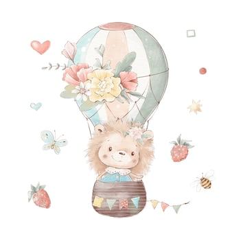 Conjunto de ouriço bonito dos desenhos animados em um balão.