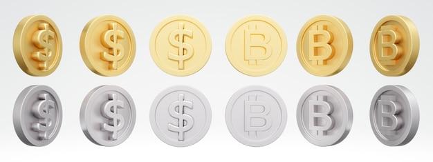 Conjunto de ouro giratório de dólar americano e moedas de ouro e prata em diferentes ângulos