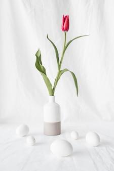 Conjunto de ovos de páscoa perto de flor vermelha em vaso
