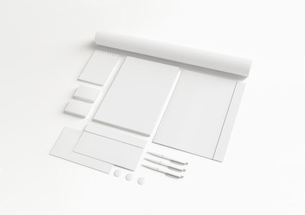 Conjunto de papelaria corporativa em branco.