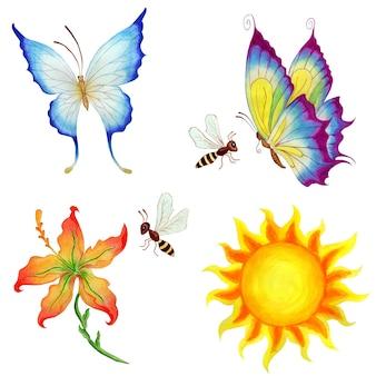 Conjunto de personagens de desenhos animados, borboletas, abelhas, flor e sol, isolado em um fundo branco