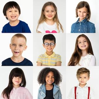 Conjunto de pessoas da diversidade crianças brincalhão studio collage