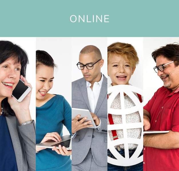 Conjunto de pessoas de diversidade com colagem de estúdio de ícones de conexão de internet