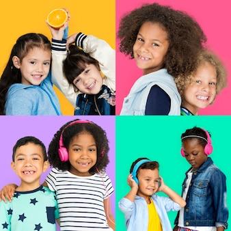 Conjunto de pessoas de diversidade crianças brincalhão studio collage