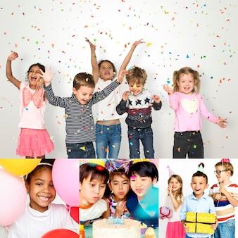 Conjunto de pessoas de diversidade crianças gosta de festa colagem de estúdio