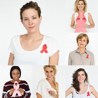 Conjunto de pessoas de diversidade mulheres com colagem de estúdio de fita vermelha